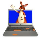 Kangaroo cartoon character with laptop Stock Images