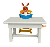 Kangaroo cartoon character with table and chair;book Royalty Free Stock Photography