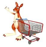 Kangaroo cartoon character with trolly Royalty Free Stock Images