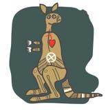 Kangaroo, cartoon figure. Made in Australian x-ray style. A design for t shirt, logo, bag, postcard, poster, illustration etc stock illustration
