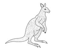 Kangaroo coloring book for adults vector illustration Royalty Free Stock Photos
