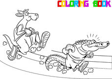 Kangaroo and crocodile on the treadmill Stock Images