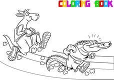 Kangaroo and crocodile on the treadmill Stock Images
