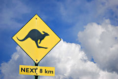 Kangaroo Crossing Sign Royalty Free Stock Images