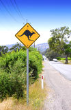 Kangaroo Crossing sign Stock Images