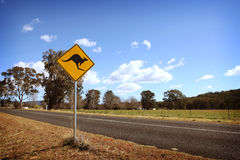 Kangaroo Crossing Sign in Australia Royalty Free Stock Photos