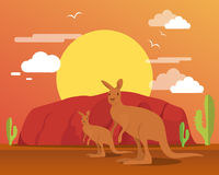 Kangaroo in desert and mountain for traveling royalty free illustration