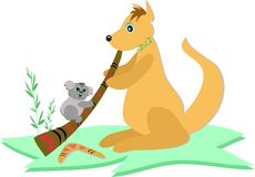 Kangaroo with Didgeridoo and Koala Bear Royalty Free Stock Photo