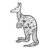 Kangaroo doodle. Illustration Kangaroo was created in doodling style in black and white colors.  Painted image is isolated on white background Stock Image