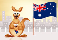 Kangaroo with flag Australia Royalty Free Stock Photos