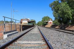 The Kangaroo Flat railway station was closed to passenger traffic in 1981 and the building is currently home to a local radio stat. GOLDEN SQUARE, AUSTRALIA stock images