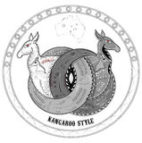 Kangaroo gray. Two kangaroos intertwined circles with Australian ornament stock illustration