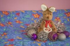Kangaroo with santa claus in a bag royalty free stock photography