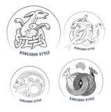 Kangaroo icons. Icons depicting stylized kangaroo Australian ornament Royalty Free Stock Photography