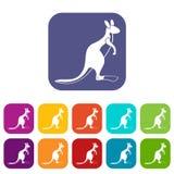 Kangaroo icons set flat Stock Photo