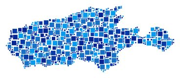 Kangaroo Island Map Collage of Pixels. Kangaroo Island map collage of random dots in variable sizes and blue color tones. Vector square dots are united into Stock Photos