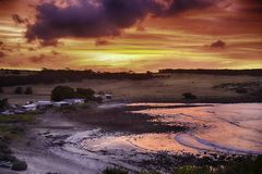 Kangaroo Island, Stoke bay. Photo was taken near Stoke bay in Kangaroo island in golden hours (sunset Stock Photography