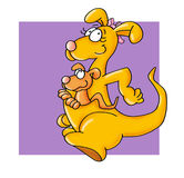 kangaroo jumping with baby in her arms Color illustration humorist button or icon for website Royalty Free Stock Images