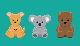 Kangaroo Koala Wombat Doll Set Cartoon Vector Illustration Royalty Free Stock Images