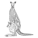 Kangaroo mother and baby joey in pouch zentangle stylized.. Kangaroo mother and baby joey zentangle stylized. Vector, illustration, pattern. Zen art. Black and Stock Images