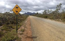 Kangaroo and ostrich sign. Net to a road in Stirling Range National Park in Western Australia Stock Photography