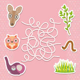 Kangaroo owl elephant labyrinth game for Preschool Children. Vector Royalty Free Stock Image