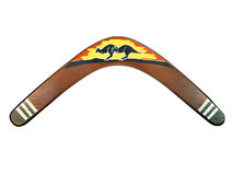 Kangaroo painted boomerang Royalty Free Stock Images