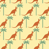 Kangaroo and Palma seamless pattern. Australian marsupial animal Royalty Free Stock Images