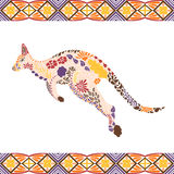 Kangaroo pattern made from flowers, leaves Royalty Free Stock Image