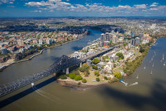 Kangaroo Points suburb of Brisbane from the air Stock Photo
