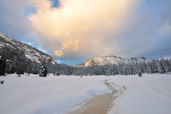 Kangaroo Ridge with early winter snow at sunset Royalty Free Stock Photos