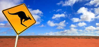 Kangaroo Road Sign Royalty Free Stock Photos