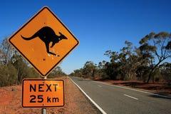 Kangaroo Road Sign. Australian roadsign warning of Kangaroos onthe road for the next 25kms Royalty Free Stock Photo