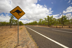 Kangaroo road sign Royalty Free Stock Image