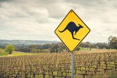 Kangaroo road sign in Australia Stock Photos