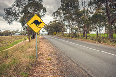 Kangaroo road sign in Australia. Kangaroo road sign on a side of a road in  Adelaide Hills wine region, South Australia Stock Images