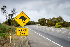 Kangaroo road sign in South Australia. Kangaroo road sign on a side of hignway  in rural South Australia Royalty Free Stock Photo