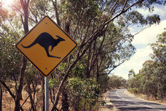 Kangaroo road sign in Victoria, Australia Royalty Free Stock Photo