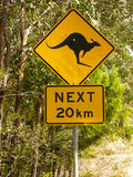 Kangaroo road sign. Kangaroo road warning sign on the side of the road in Australia Stock Image