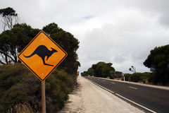 Kangaroo Sign. Kangaroo road warning sign, australia Royalty Free Stock Photos