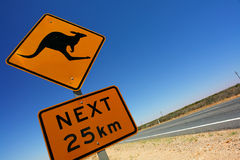 Kangaroo sign. Travel Australia, kangaroo sign at an australian ouback highway Royalty Free Stock Photo