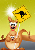 Kangaroo sign caution Royalty Free Stock Images