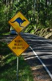 Kangaroo sign and injured wildlife telephone number in rhombus shape royalty free stock photos