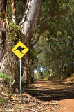 Kangaroo Sign. A roadside kangaroo warning sign next to a gravel road passing through indigenous forest near the town of Denmark in Western Australia Royalty Free Stock Image
