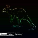 Kangaroo silhouette of lights on black background Stock Photo