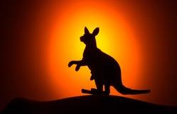 Kangaroo silhouette on sunset Royalty Free Stock Image