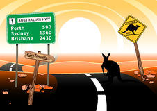 Kangaroo standing on road in the Australian outback Stock Photos