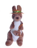 Kangaroo teddy with baby. Cute kangaroo teddy with baby or joey in pouch and Australian hat; isolated on white background Stock Image