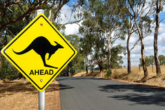 Kangaroo warning road sign. Kangaroo warning sign on a road in the Australian outback Royalty Free Stock Photos
