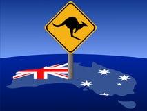 Kangaroo warning sign Royalty Free Stock Photo